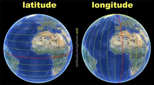 पड़ी रेखाएं अक्षांश (Lattitude), खड़ी रेखाएं देशांतर (Longitude). फोटो: LattitudeLongitude.net