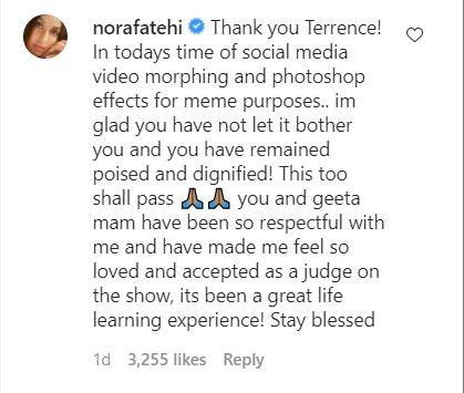नोरा फतेही ने टेरेंस लुईस के पोस्ट पर जवाब दिया है.