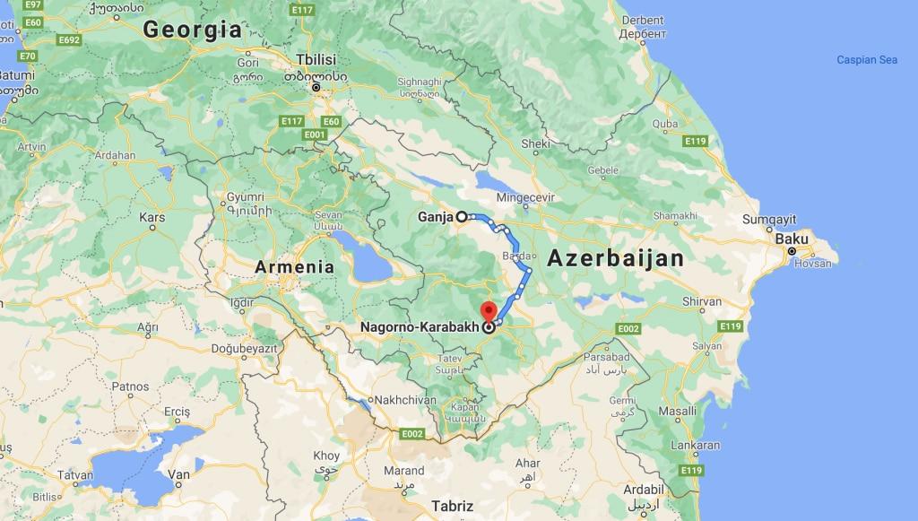 गैंजा शहर का मानचित्र. (साभार: गूगल)