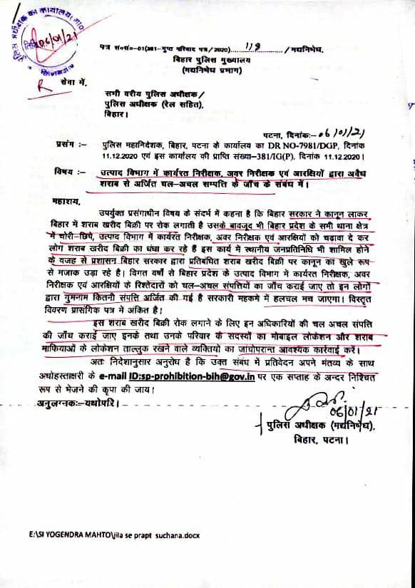 Bihar Adg Letter
