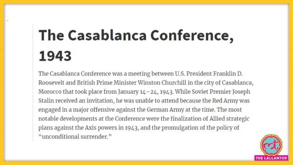 Casablanca Conference Gov Reports