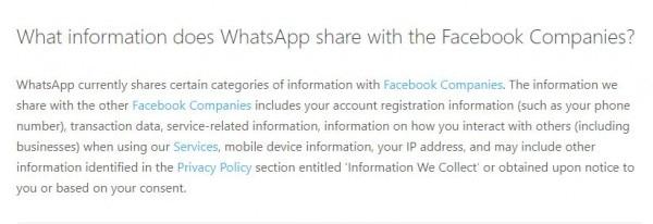 Whatsapp Facebook Info Share