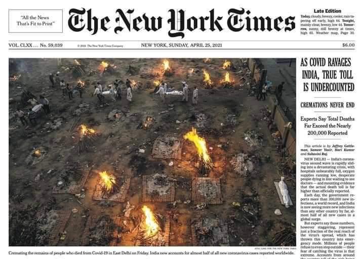 भारत में कोरोना त्रासदी पर न्यू यॉर्क टाइम्स की कवरेज. (फोटो: ट्विटर)