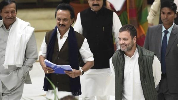 राहुल गांधी के साथ एम के स्टालिन. (फ़ोटो क्रेडिट : Gettyimages)