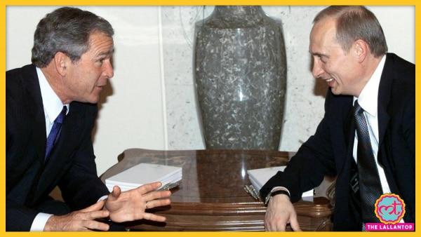 अमेरिका के पूर्व राष्ट्रपति जॉर्ज बुश और रूसी राष्ट्रपति व्लादीमिर पुतिन. (तस्वीर: एएफपी)