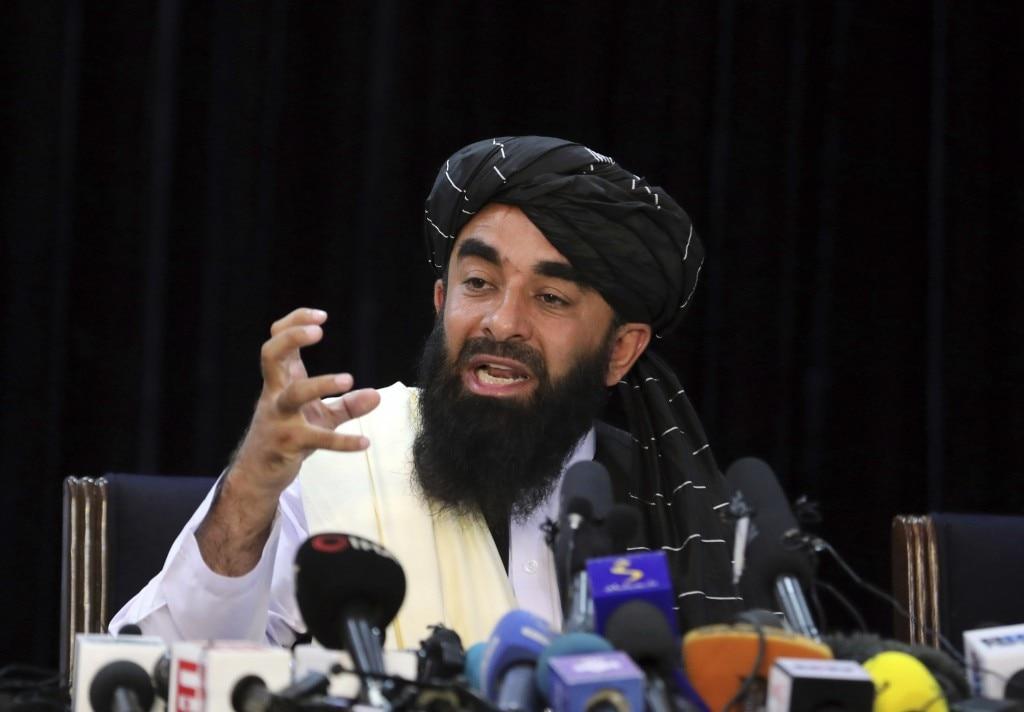 काबुल पर क़ब्ज़े के बाद तालिबान की पहली प्रेस कॉन्फ़्रेंस.
