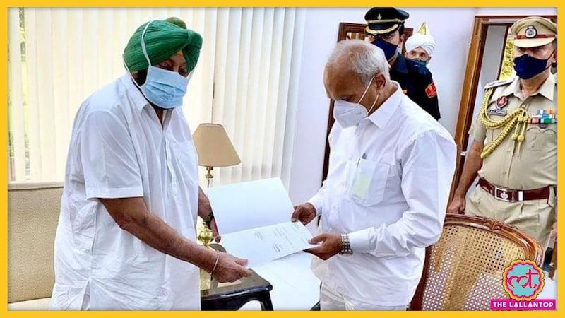 पंजाब के मुख्यमंत्री कैप्टन अमरिंदर सिंह ने इस्तीफा दिया