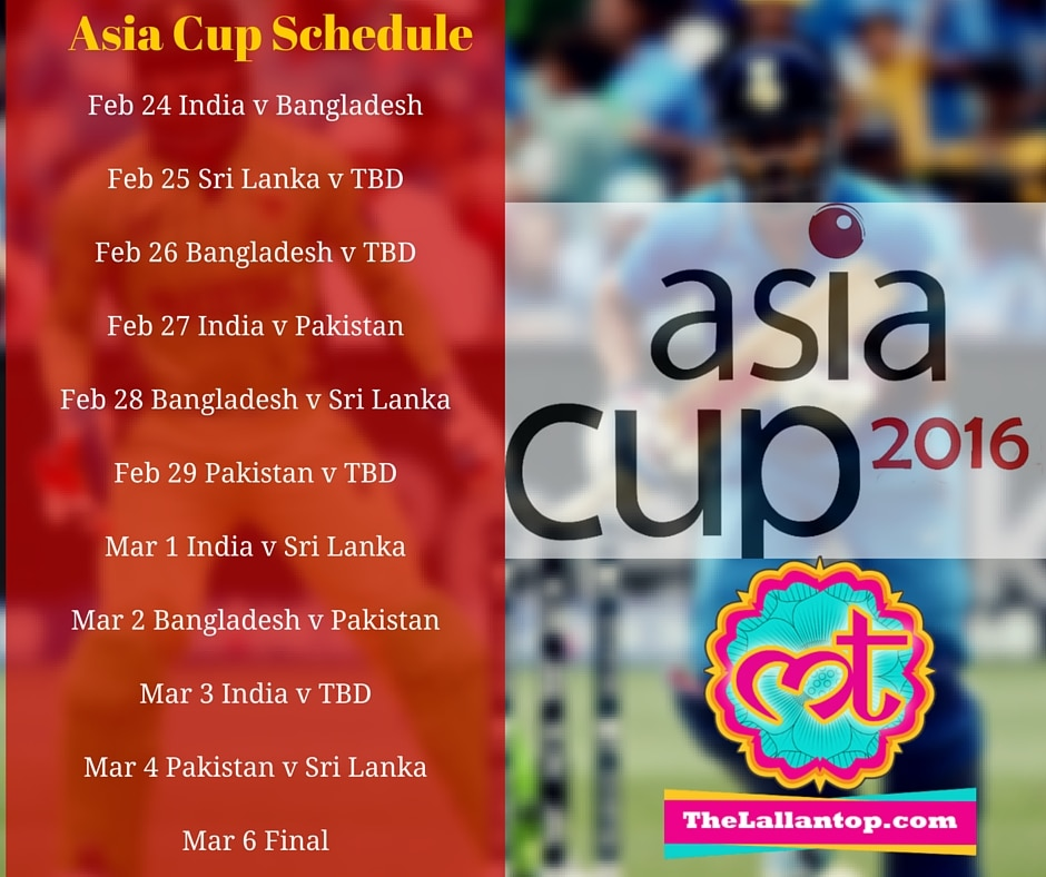 Asia Cup Schedule