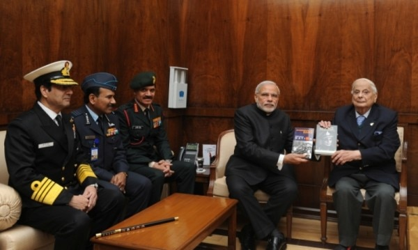 """Lt._General_(Retd.)_JFR_Jacob_presents_his_books_""""An_Odyssey_in_War_and_Peace""""_and_""""Surrender_at_Dacca""""_to_PM_Modi"""