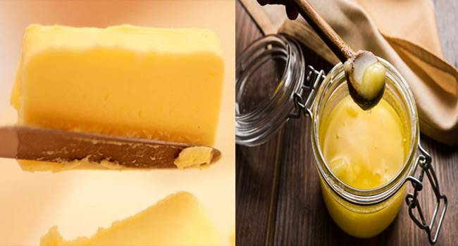 The cooking medium, especially ghee which is very well- applicable for Indian cooking