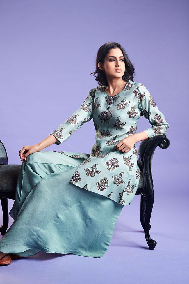 fancy kurti, pairing it with a dhoti style bottom