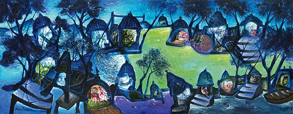 Banaras in Blue by Manu Parekh, Acrylic on canvas, 48 x 120 inches, 2006. Image courtesy: Saffronart.