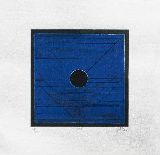 Bindu by S. H. Raza. Silk screen on paper, 20 × 20 inches, 2006. Image courtesy: Archer Art Gallery.