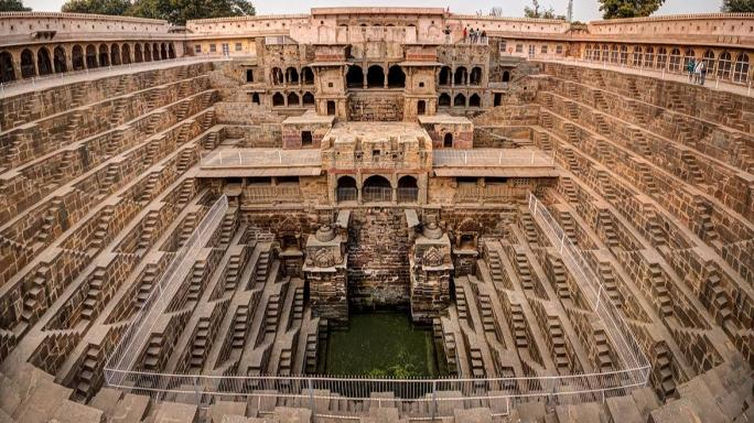 Built in the ninth century, Chand Baori is one of India's oldest and deepest stepwells.