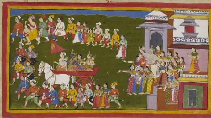 Rama, Sita and Lakshman leaving Ayodhya for 14 years of exile (Wikimedia Commons)