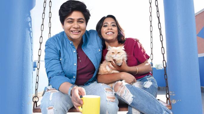 Sree (left) with Suchandra and their cat Romeo
