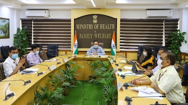 Union Health Minister Dr Harsh Vardhan held a virtual meeting with Gujarat's deputy CM and health minister Nitinbhai Patel and other senior officials to review the state's COVID-19 response on Monday. Photo: Twitter/@drharshvardhan